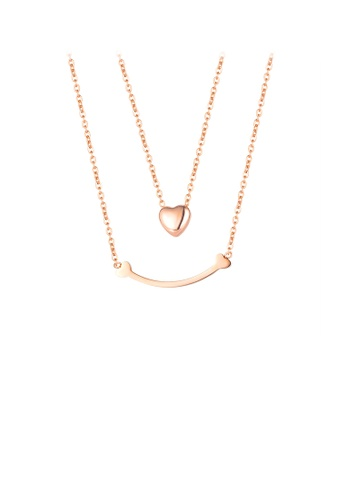 Glamorousky silver Simple Fashion Plated Rose Gold Smile Heart 316L Stainless Steel Double Necklace CD689AC143AA07GS_1