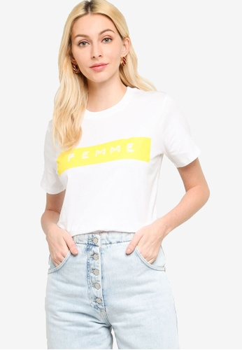 French Connection white Femme Boyfit Graphic Tee 54E36AA3FACC97GS_1