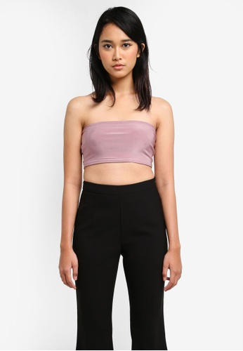 MISSGUIDED purple Carli Bybel Slinky Bandeau Top 52528AA512DCDDGS_1
