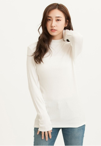 H:CONNECT white Half Neck Rib Knit T-Shirt 642FFAABF83351GS_1