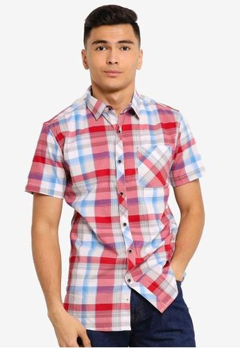 Fidelio red Checkered Casual Short Sleeve Shirt 11719AA7B9F5B7GS_1