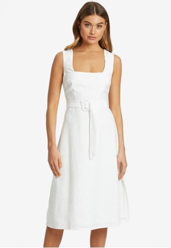 REUX white Adelyn Square Neck Midi Dress 8FEECAABE3E7DDGS_1
