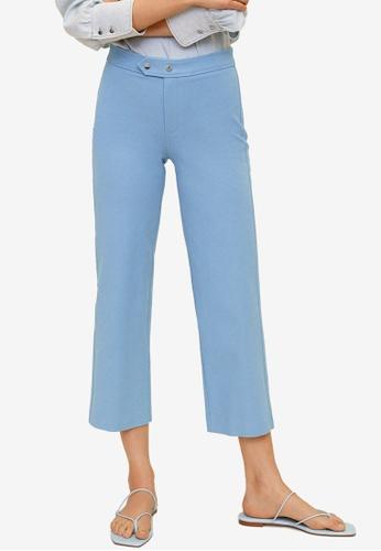 Mango blue Straight Cut Crop Trousers 6588DAA29D0233GS_1