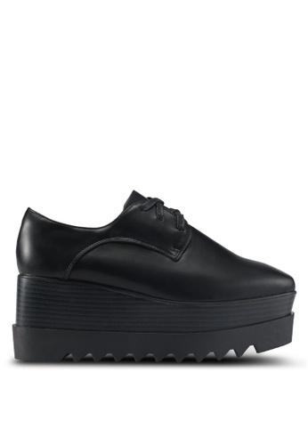 Twenty Eight Shoes black Wood Platform Derbies B100FSH61FB002GS_1
