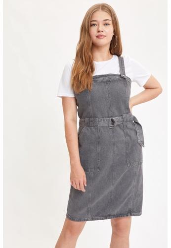 DeFacto grey Bib Overall Mini Dress A3D22AA976F2EFGS_1