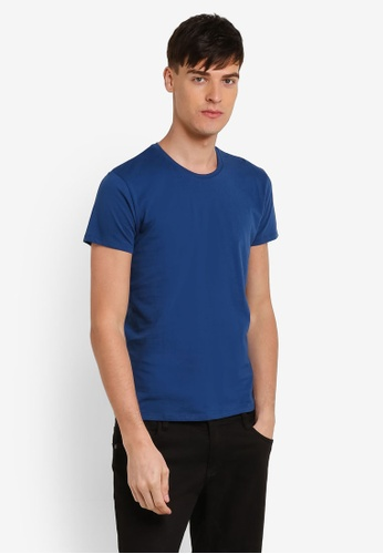 Electro Denim Lab blue Cotton Crew Neck Tee EL966AA0RWIBMY_1