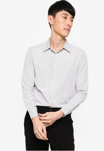 ZALORA BASICS white and green Slim Fit Checked Shirt FA24FAA2D5D0E3GS_1