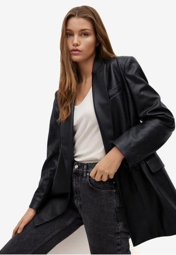 Mango black Cross Faux-Leather Blazer DE1E4AADD76CE1GS_1