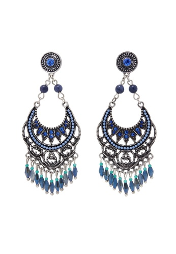Jaysa Collection multi and silver Modern Tribal Blue Filigree Statement Earrings JA875AC0F6GKSG_1