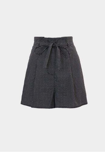 Pomelo black Polka Dot Tie Waist Shorts - Black 7C54AAA1D17371GS_1