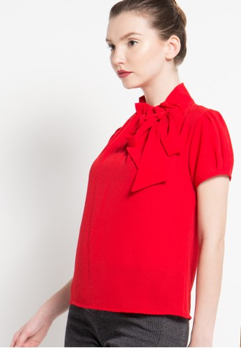 FAME red Short Sleeves Blouse FA157AA33GQSID_1