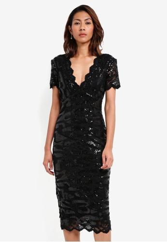 Goddiva black Sequin Lace Midi Dress 6CBC4AAE96D0A6GS_1