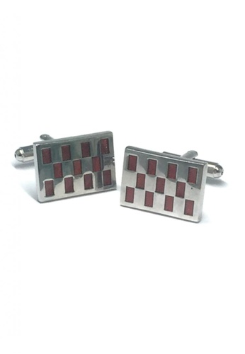 Splice Cufflinks red and silver Red Patterned Rectangle Cufflinks  SP744AC55DTOSG_1