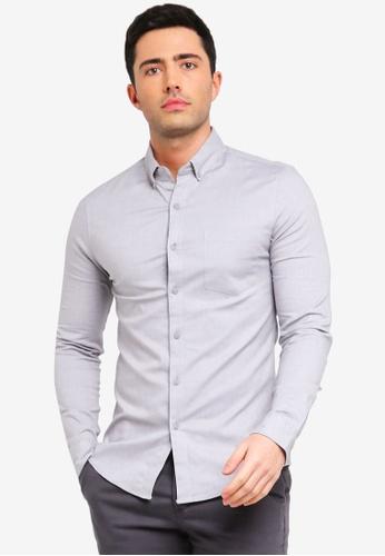 Topman 灰色 緊身牛津襯衫 5CDF1AA71D80EBGS_1