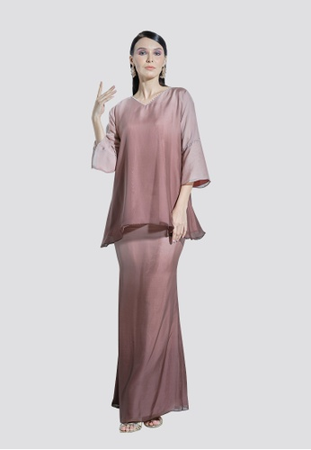 Nadjwazo by LadyQomash brown Lily Kurung Modern Silk Chiffon CFC02AABF366DAGS_1