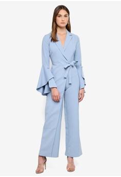 fc880e6375c4 Lavish Alice blue Bell Sleeve Wrap Over Wide Leg Tailored Jumpsuit  C649AAA0B7FCF6GS 1