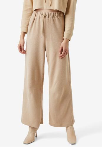 KOTON beige Wide Pull-On Trousers C72ECAA89B5EA9GS_1