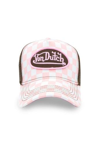 Von Dutch white and brown and pink Von Dutch Pink & White Checker Trucker Cap D4D3EACCE6035CGS_1