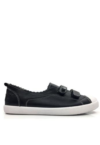 Twenty Eight Shoes 黑色 真皮閃石魔術貼休閒鞋 VL805 TW446SH2UK2EHK_1