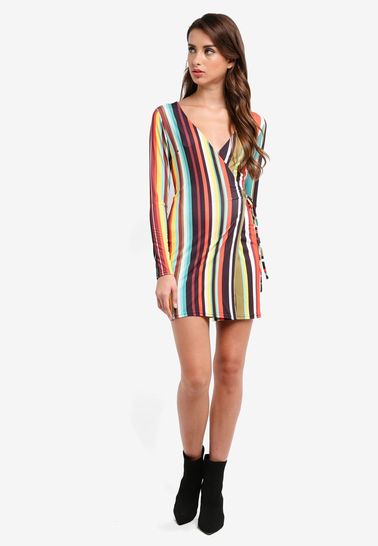 Dress Mini Wrap Over MISSGUIDED Striped Multi qwv0C