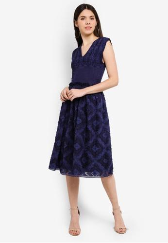 Max Studio blue Woven Jaquard Dress 7A695AABCD06B3GS_1