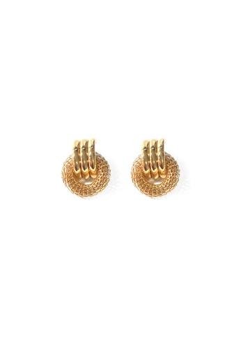 FAWNXFERN gold Mesh and Loop Earrings in Gold 39DD7AC50099ECGS_1