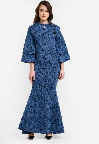 Zuco Fashion blue Midi Kurung Hi-Low Top ZU882AA0RUJVMY_1