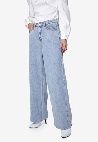 Urban Revivo 藍色 Raw Hem Denim Jeans EF5EAAA0493DB7GS_1