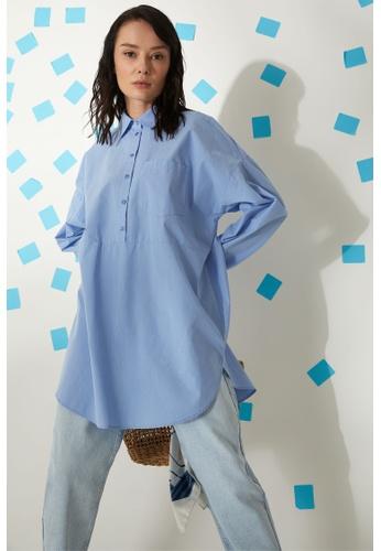 DeFacto blue Long Sleeve Cotton Shirt Tunic 9E565AAA365906GS_1