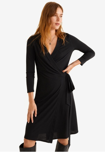 Mango black Bow Wrap Dress 10792AA520AA37GS_1