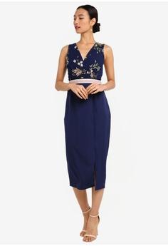 ea583a7fd55 65% OFF Little Mistress Maja Navy Floral Pencil Midi Dress RM 329.00 NOW RM  114.90 Sizes 6 8 10 12 14