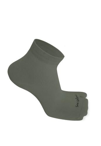 SOXGALERI grey Sox Galeri Anti-Bacterial Cotton Thumb Ankle Socks for Women 48E0DAA2FFB1C5GS_1