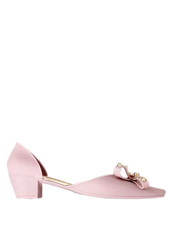 Twenty Eight Shoes 粉紅色 鉚釘果凍膠矮跟雨鞋 VR273 2E2EFSH9EBD37AGS_1