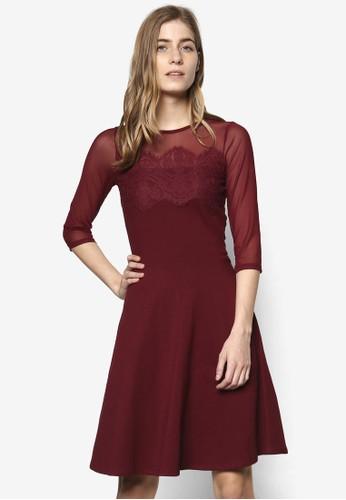 透膚蕾esprit 會員卡絲 七分袖連身裙, 服飾, 洋裝