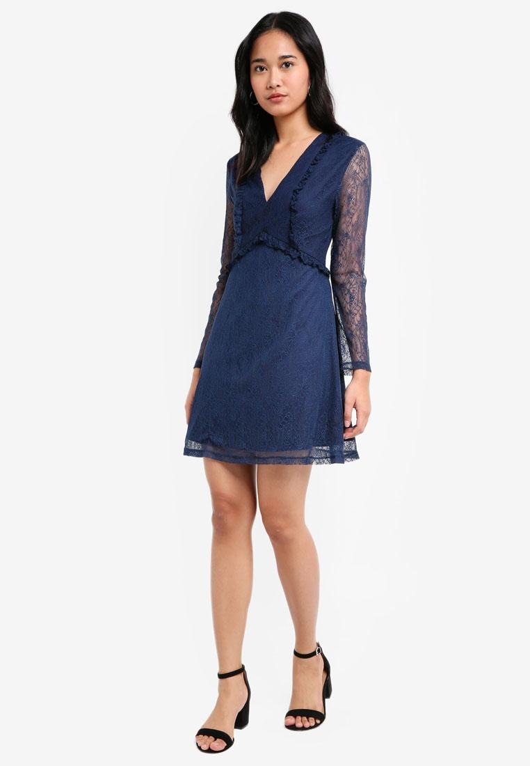 Babydoll Dress Lace Something Ruffle Borrowed Navy pzHSz5wq