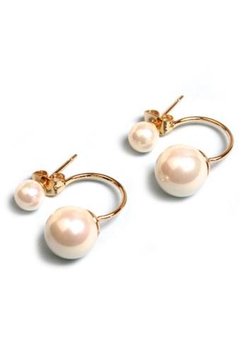YOUNIQ red and gold YOUNIQ-Basic Korean Twin Pearl RoseGold Earring YO999AC99DEAMY_1