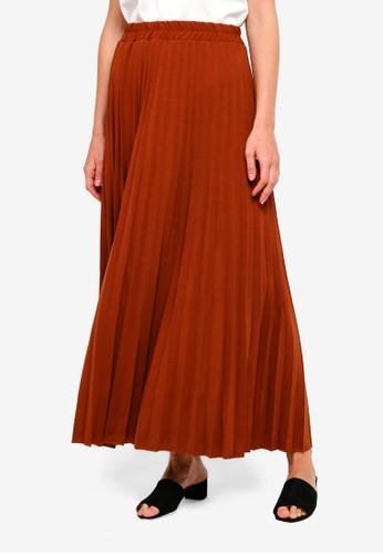 BYN brown Pleated Maxi Skirt 7374FAA43BD5E2GS_1