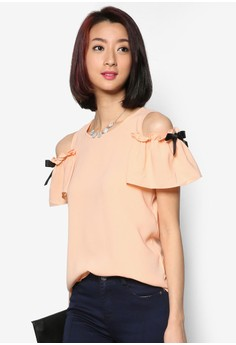 Chiffon Bare Shoulder Top With Bow