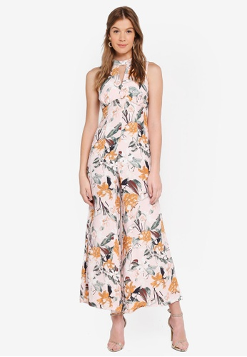 Forever New orange Whitney Halo Neck Printed Jumpsuit E3B29AAD3F7814GS_1