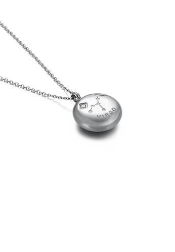 Glamorousky white Fashion and Simple Twelve Constellation Virgo 316L Stainless Steel Pendant with Cubic Zirconia and Necklace EFA3AAC6A480F9GS_1