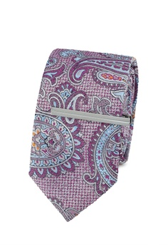 Mens Navy and Pink Floral Clip Ties Set, Blue (Navy), One Size Burton Menswear London
