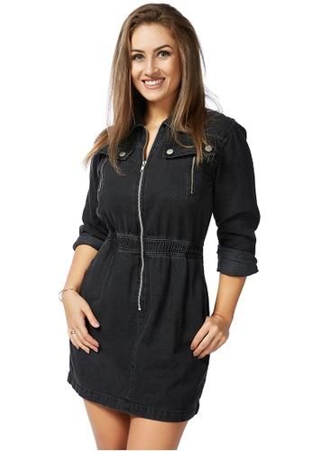 London Rag black Black Denim Zip it Up Dress A4B12AA7FF062DGS_1