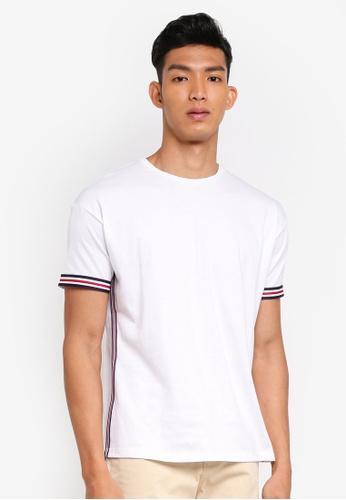 ESPRIT 白色 短袖條紋滾邊T恤 B76BFAA7B2396EGS_1