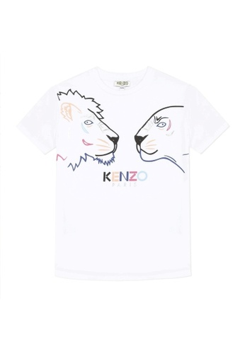 KENZO KIDS white and multi KENZO GIRLS T-SHIRT F87D6KAE6EDAD4GS_1