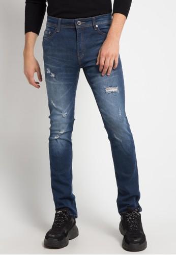 BRONCO blue Slim Fit Ripped Denim A229AAAE47F502GS_1