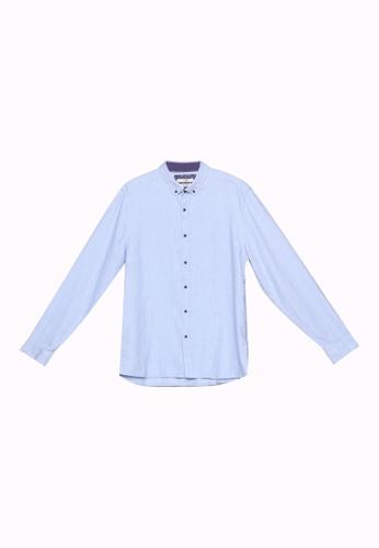 LC Waikiki blue Slim Fit Long Sleeve Twill Shirt 092C8AA6C8723CGS_1