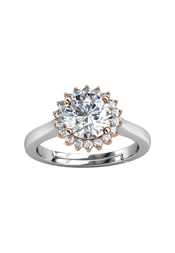 Her Jewellery silver CELÈSTA Moissanite - Florale Ring (925 Silver with 18K White Gold Plating) by Her Jewellery 81EA5AC2021E83GS_1