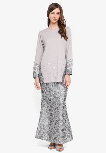 peace collections grey Jacquard Insert Kurung 29134AAB6E4B70GS_1