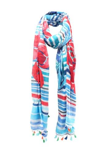Desigual blue and multi Striped Print Scarf 1D972ACB8C83ACGS_1