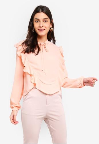 ZALORA 橘色 Bow 領帶 荷葉飾上衣 549BDAAD411D4FGS_1